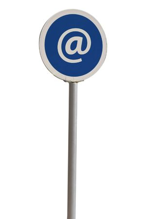 arroba: blue rounded @ at arroba mall sign  Stock Photo