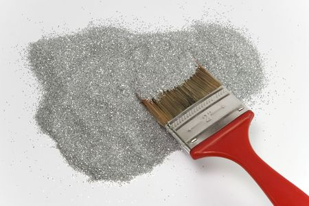 brigth: red brush mixing on brigth silver dots Stock Photo