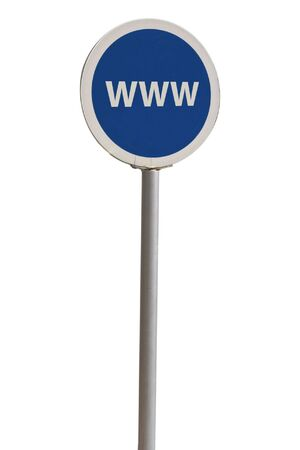 blue rounded word wide web mall sign