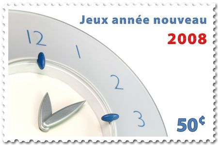 happy new year 2008 stamp of 50¢ in french
