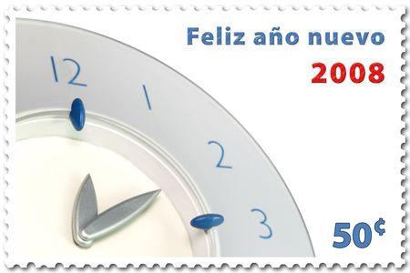 happy new year 2008 stamp of 50¢ in spanish photo