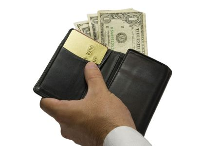 Hang holding a wallet with money and cards Stock Photo - 2192792