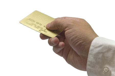 human hand taking a gold credit card Stock Photo - 2192783