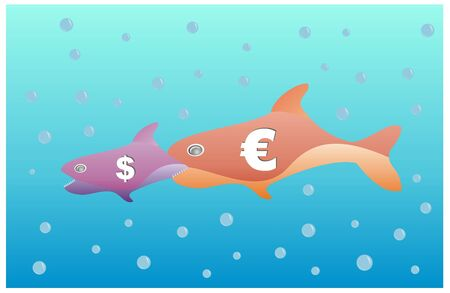 parody of bigger fish eat smallest fish with euro and dollar  photo