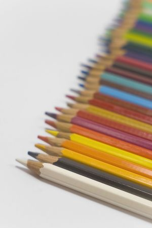 colorful pencils on white background in horizontal position Stock Photo