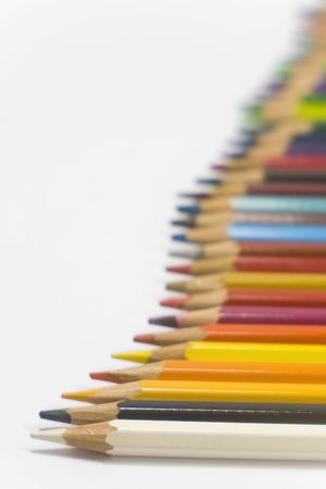 horizontal position: colorful pencils on white background in horizontal position  Stock Photo