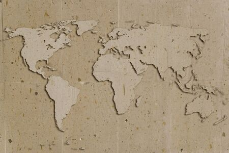 vintage stone texture with world shape and shadows  photo