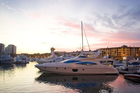 marina of puerto vallarta in color sunset day 版權商用圖片