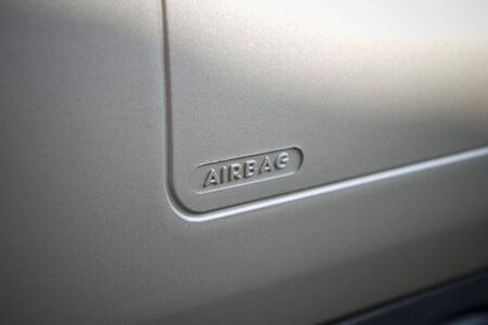 airbag from a silver  truck left passenger
