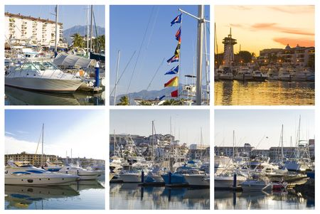 marina collage of five puerto vallarta images  Stock Photo - 2428875