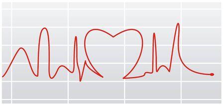 heat beat pulse illustration with   lines Stock Illustration - 2434419