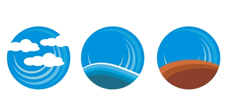 earth sea and land circles for icons Vettoriali