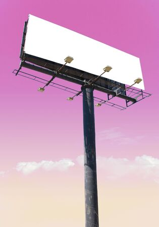 advertise: white billboard advertise with clouds