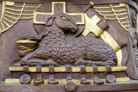 holy sheep statue with gold cross Stock Photo - 2538611