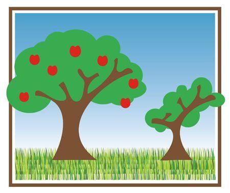 illustratie van twee bomen met blauwe hemel