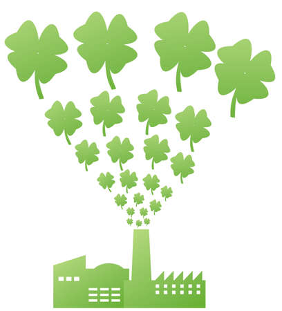 green factory with four petal clovers illustration Stock Illustration - 2643367