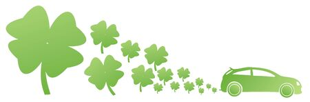 green car with four petal clovers illustration Stock Photo
