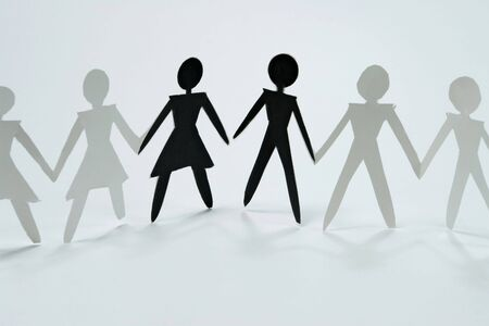 shadow figures of woman and men group join photo