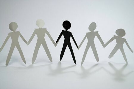 businessteam: shadow figures of men group join Stock Photo