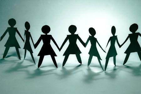 schaduw cijfers van vrouwen groep Deelnemen