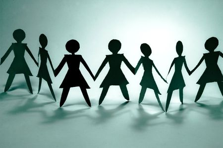 confident woman: shadow figures of women group join Stock Photo