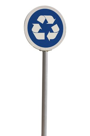 blue rounded recycle  sign for draw photo