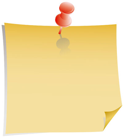 yellow note and red pushpin with shadow Stock Vector - 2793073