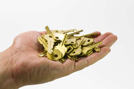 one human hand with gold keys  isolated  photo
