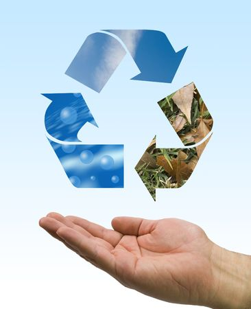 one hand care the recycle logo, water, air and soil Stock Photo