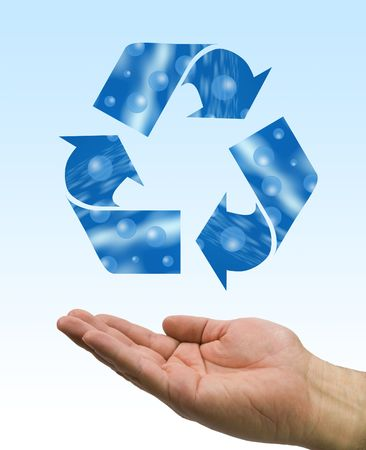 one hand care the recycle logo, water element photo