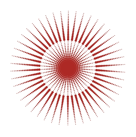 grid: red sun dots texture, grounge style Illustration
