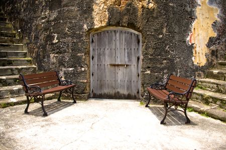antique chair: one door and two chairs in spanish fort Stock Photo