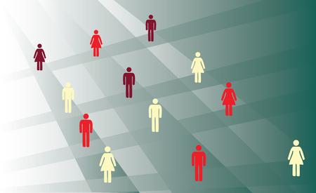 men and women in crossroad way Vector