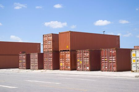 Containers on stack waiting for shipping Stock Photo - 3121727