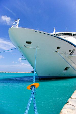 cruise ship anchored in a caribbean pier   Stock Photo