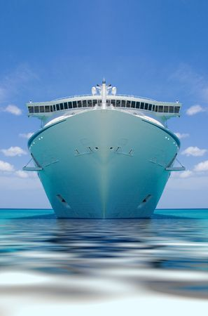 luxuries: cruise ship in a caribbean ocean Stock Photo
