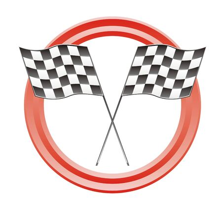 two race flags bn in red circles Vector