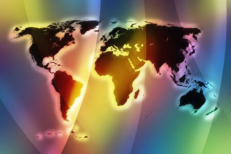 vivid color world map with glow effect  photo