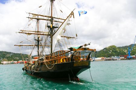 pirates boat for travel in caribbean sea