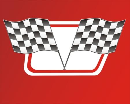 rallying: carrera de dos banderas rojas en backgroun, el Victory