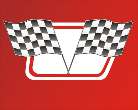 rallying: two race flags on red backgroun, Victory Illustration