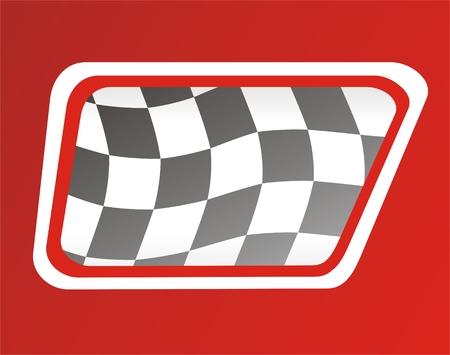 race winner: race flag in window, red background