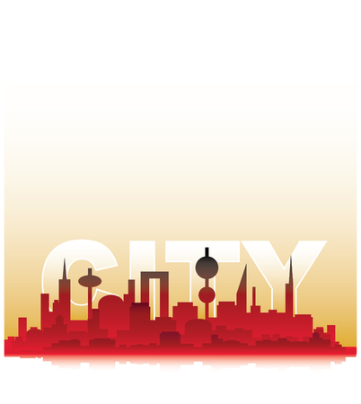 city silhouette  in yellow and red tones Stock Vector - 3323767