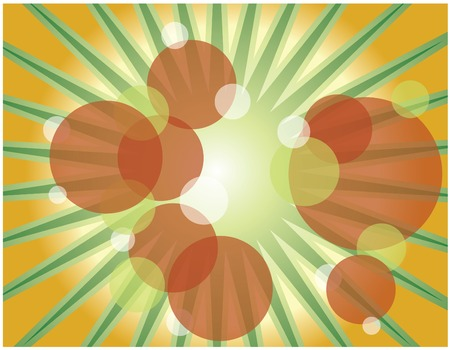 abstract summer background, dots and rays, green and orange Vector