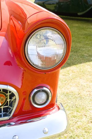 cooper: headlight in red england mini vintage car