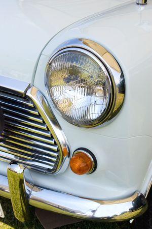 headlight in white english mini vintage car