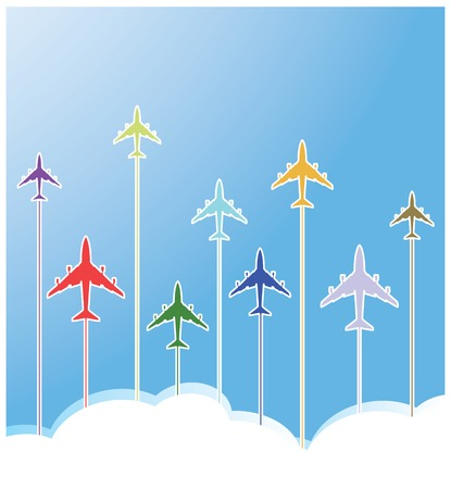 set of airplane in fun colors with clouds Vector