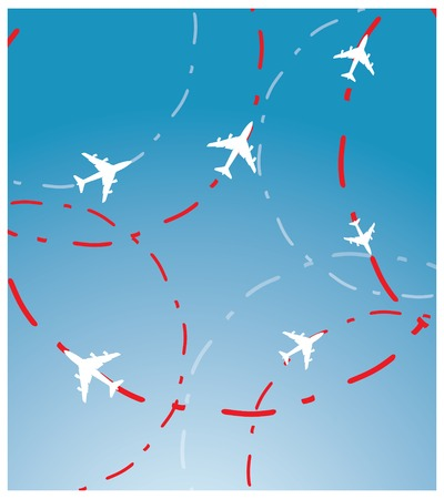 white airplane, red route lines and blue sky  Vector