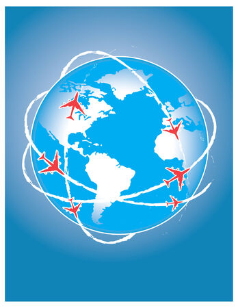 airplane route in blue world, business concept Vector