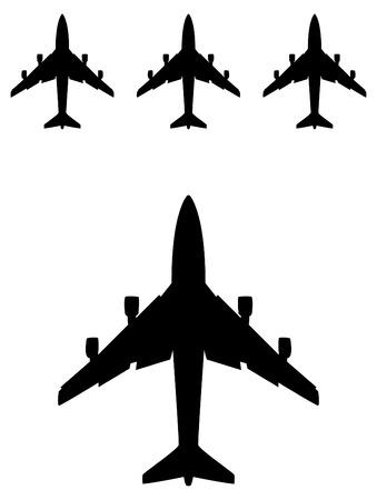 avion silhouette noire dans le vecteur, l'icône de Voyage Vecteurs